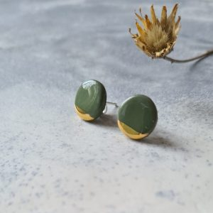 ohrstecker gold olive